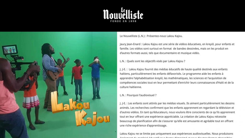 Le Nouvelliste covers Lakou Kajou